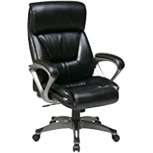 Office Star Executive Eco Leather Chair with Coil Spring Seat, Padded Arms, and Silver Coated Base, Black