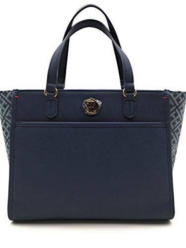 Tommy Hilfiger Tasche, blau, Shoppertasche, TH Signature, 38x25x10cm, Damentasche
