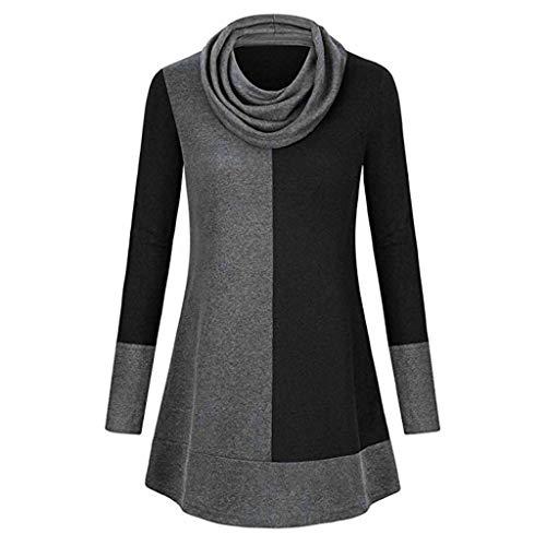 Clearance Tops Halloween Christmas Women Pullover Santa Claus Sweatshirt Long Sleeve Snowflake Printed Blouse (H_Black, M)