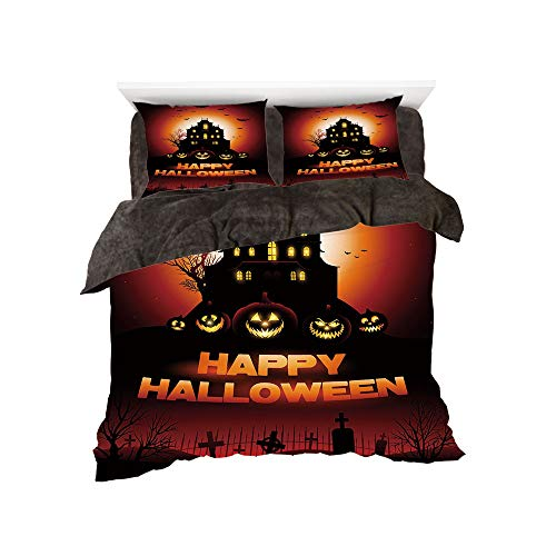 Flannel 4 Piece Cotton Queen Size Bed Sheet Set for bed width 5ft Winter Holiday Pattern by,Halloween,Happy Halloween Haunted House Flying Bats Scary Looking Pumpkins Cemetery Decorative,Black Orange