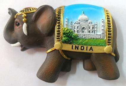 Indian Souvenir Taj Mahal Elephant Fridge Magnet Multicolor Polyresin Decor
