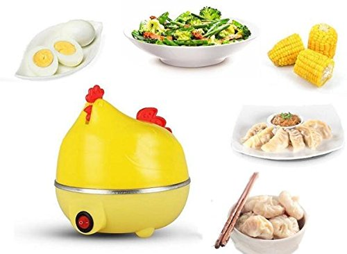 Hen Egg (IN-INDIA Stylish Hen Shaped Egg Boiler Cum Steamer - Can be used For Vegetables (EU PLUG))