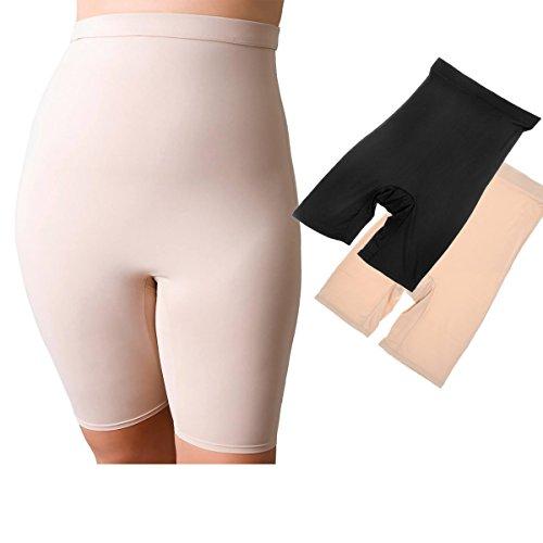 La Isla Women's 2 Pairs Seamless High Waist Slim Shaper Shapewear Brief with Leg Mixed 2 Pack M
