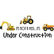 It's not a mess...it's under construction (3 piece PRINTED trucks) cute inspirational home vinyl wall quotes decals sayings art lettering