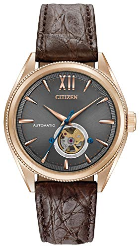 Citizen Men's The The Signature Collection Gold Japanese-Automatic Watch with Leather-Crocodile Strap, Brown, 21 (Model: NB4003-01H)