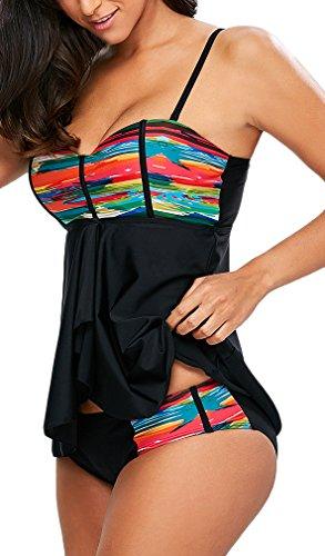 pezzi delle colorato due donne Costumi EmilyLe da con Multicolore Shorts bagno top Tankini qpfxBt