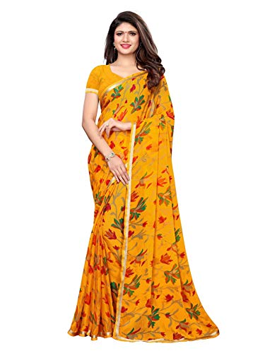 KANCHNAR Women's Yellow Chiffon Printed Saree with Unstitched Blouse