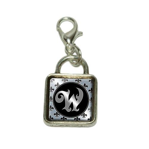 Letter W on Fleur De Lis Pattern Dangling Bracelet Pendant Square (Fleur De Lis Pattern Bracelet)