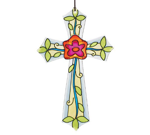 Decor Mosaic Glass Cross with Flower Design