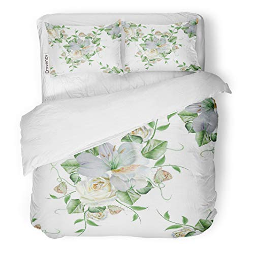 (Semtomn Decor Duvet Cover Set Twin Size Colorful Floral Bright Flowers Rose Alstroemeria Butterfly Watercolor Beautiful 3 Piece Brushed Microfiber Fabric Print Bedding Set Cover)
