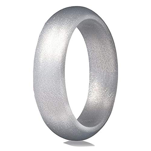 KHYOMI XWYL Silicone Rings, Singles Wedding Bands for Women - 5.7 mm Wide (Silver, 6.5-7(17.3mm))