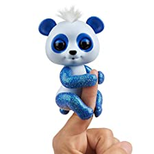 Fingerlings Glitter Panda -  Archie (Blue) - Interactive Collectible Baby Pet - By WowWee