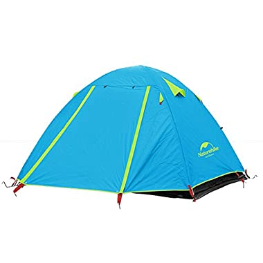 Weanas® Waterproof Double Layer 2, 3, 4 Person 3 Season Aluminum Rod Double Skylight Outdoor Camping Tent (Azure, 4 Person)