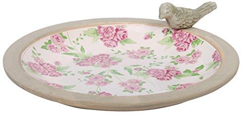 41PAi6S4jbL - Esschert Design USA Aged Ceramic Bird Bath Rose Print