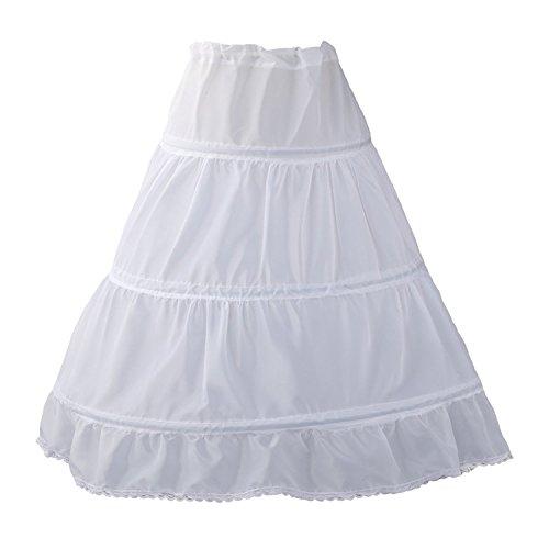 QYC Girl's Petticoat 3 Hoops Full Length Crinoline Petticoat Skirt,White, 2 Size 2-6 Years for $<!--$10.88-->