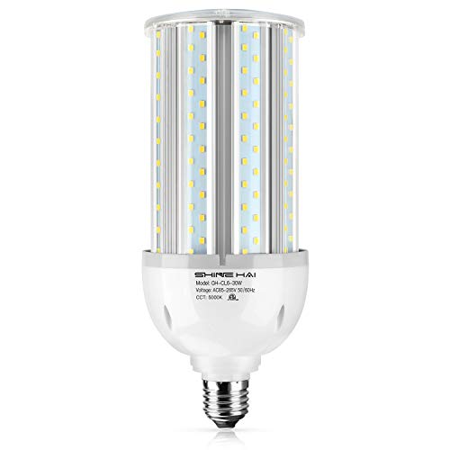 LED Corn Bulb, SHINE HAI Street & Area Light 35W (300W Equivalent), 3500Lm 5000K Daylight White E26 Base IP64 for Indoor Outdoor Garage Factory Garden, Super Bright