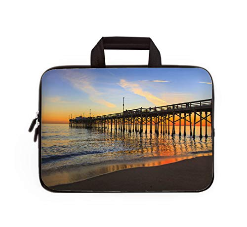 (Double Zipper Laptop Bag,Balboa Pier Orange County California,17-inch Canvas Waterproof Laptop Shoulder Bag is Compatible with 17-inch / 17.3-inch notebooks. )