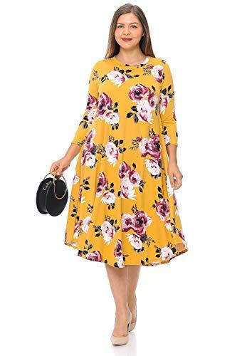Pastel by Vivienne Women's Swing Midi Dress Plus Size X-Large Floral Mustard Mauve ()
