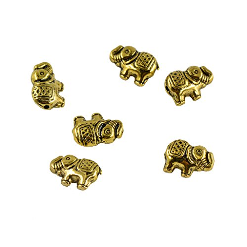 MonkeyJack 50pcs Alloy Metal Elephant Charms For DIY Bracelet Connector Spacer Beads - Antique gold, as described ()