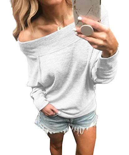 Shirts Hauts Sweat Pulls Shirts Clair Blouse et T Sweaters Col Printemps Pullover Casual Automne Fashion Jumpers Gris Femmes Unie Manches Bateau Tees Top Longues Couleur vPt6Cwq