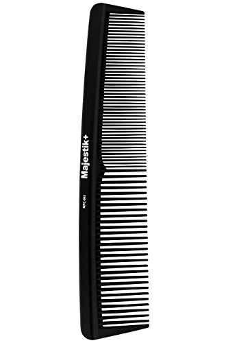 Majestik+ Hair Comb- A Professional Hairdressing Carbon Fibre Comb Strength & Durability, Medium And Fine Tooth, Black, With Bespoke PVC Product Pouch 19.0 cm