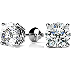 Diamond Earrings 14K White Gold Or Silver 0.45ctw Round Solitaire Screw Back (i2/i3, i/j)