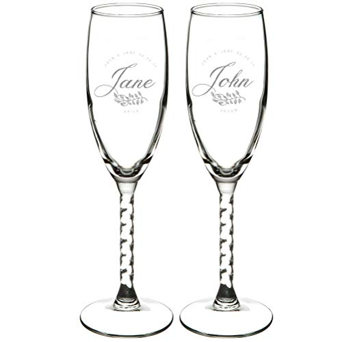 Set of 2 EXPRESS Personalized 5.75 oz Champagne Flute Engraved Glass Gift Twisted Stem-Wedding Present Bride and Groom Gift Wedding Gift Mr & Mrs Wedding Party Glass Lead Free BPA (Bride+Groom Name)