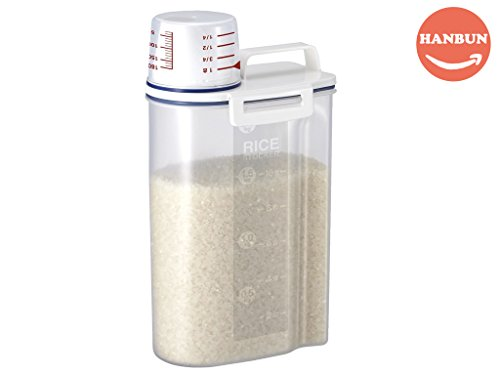 Rice Bin, Rice Storage Bin 2KG Portable Food Grain Storage Box Rice Storage Box Dispenser, Rice Container Sealed Tank with Measuring Cup