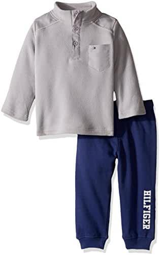 Tommy Hilfiger Baby Boys' 2 Piece Striped Fleece Top and Pant Set