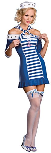 GTH Women's Ship-Shape Sweetie Sailor Nautical Outfit Sexy Costume, XL (14-16) (Sexy Nautical Costume)