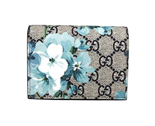 Gucci Women's Blue Bloom Flap Coated Canvas Wallet Card Case 546372 8492