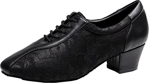 Salabobo AQQ-3003 Womens Latin Wedding Party Tango Closed Toe Low Heel PU Lace Floral Dance Shoes Black pDS51miiHn