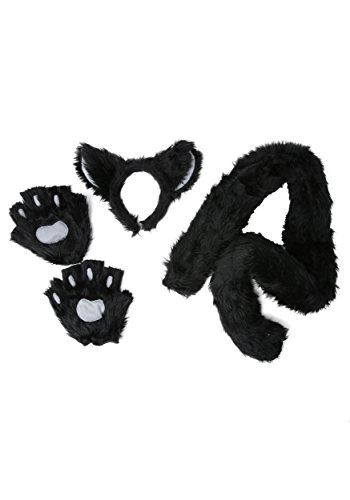 Deluxe Black Cat Costume Kit Headband Tail and Paws Standard]()