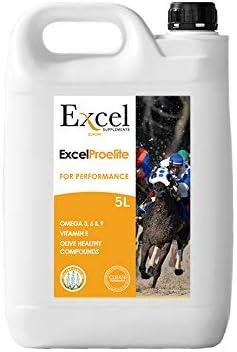 Excel ProElite 5- litros | Aceite para Caballos | Anti-inflammatorio | Antioxidantes | Desarrollo Muscular | Cuidado del Caballo | Omega-3 | Vitamina E | Triterpenos de Oliva