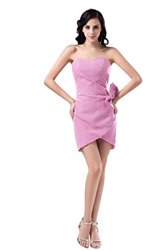 Vogue007 Womens Strapless Gingham Pongee Formal Dress with Bowknot, Pink, 16 by Unknown