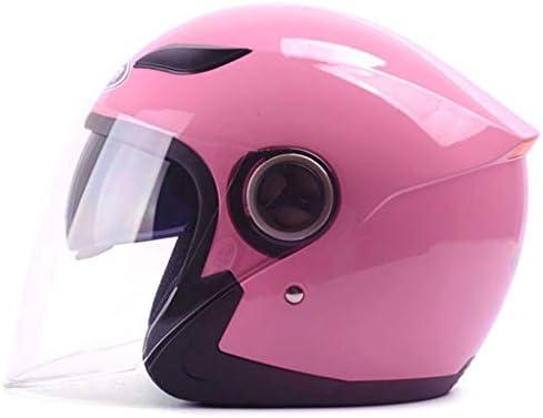 NJ ヘルメット- 電動バイクヘルメット男性と女性のハーフヘルメットカバーフォーシーズンユニバーサルダブルミラー防曇ヘルメット (色 : ピンク, サイズ さいず : 30x25x26cm)