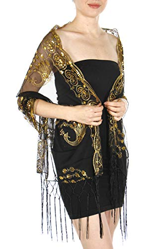 - Women beaded evening sequined shawl, Sequin Scarf, Peacock heart, Black/Gold