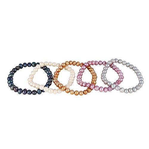 Set of 5 Stretch Pearl Bracelet: White/Grey/Black/Bronze and - Bracelet Bronze Freshwater Pearl Cultured