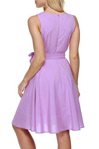 y para de Fiesta Mujer Vestidos Zeagoo Mangas de Gasa Rosa sin X0q8Y6