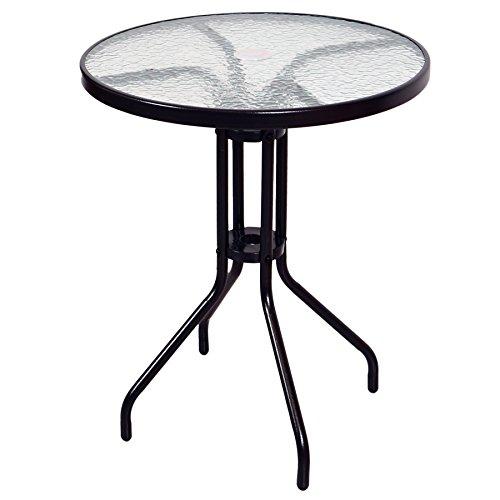 Bistrotisch mit Glasplatte und Schirmloch Gartentisch Balkontisch Terrassentisch