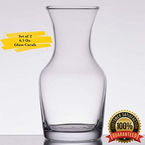 MM Foodservice Single Serving Wine Carafe, 6.5 Oz Set of 2 (Decanter 6 Cocktail Ounce)
