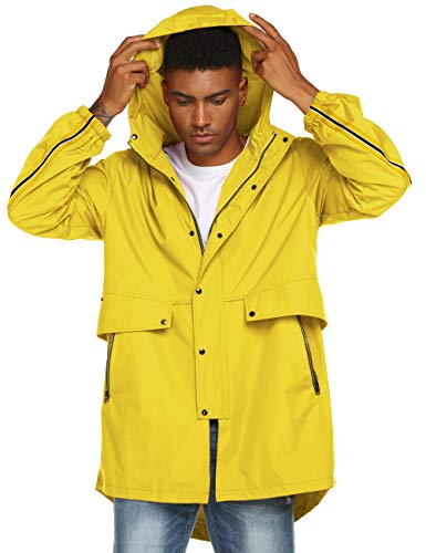 Avoogue Mens Running Windbreaker Jackets Rain Coat Hooded Waterproof Work Raincoat Yellow XL
