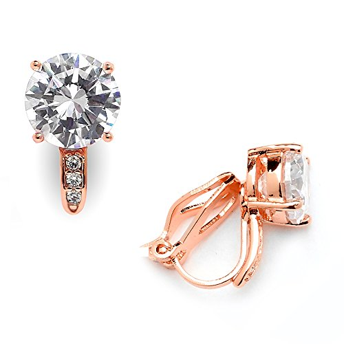 Mariell 2.0 Ct. Genuine 14K Rose Gold Plated Clip On Stud Earrings Solitaires (8mm) with Pave Accents