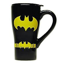 DC Comics BN0988 Batman Black Uniform Ceramic Travel Mug with Lid, 18 oz, Multicolor