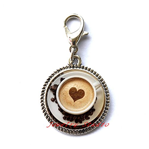 Pull Espresso Bronze (Beautiful Zipper Pull,New Trendy Cappuccino Charming Zipper Pull Heart Coffee Zipper Pull Hot Chocolate Art Jewelry For Girl Glass Cabochon Charming Zipper Pulls Zipper Pulls,T0027)