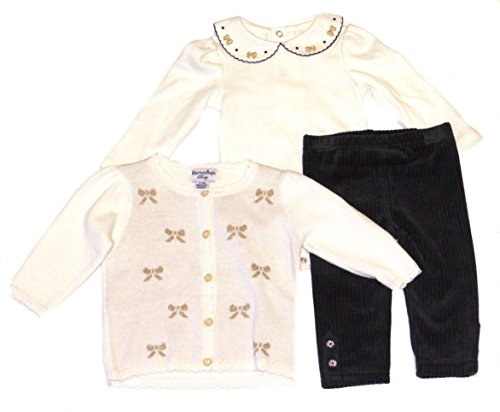 Hartstrings Infant Girl's 3 Piece Cardigan, Embroidered Bodysuit and Velour Pant Set (6-9 -