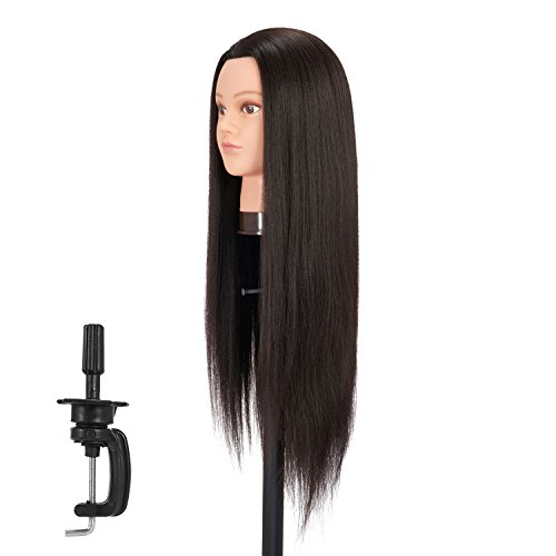 Hairgingkgo 28-30 Inch Long Hair Yaki (Heavy Density) Synthetic Cosmetology Mannequin Manikin Training Head Model with Clamp (91803BY0220)