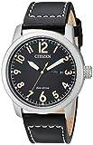 Citizen Men's Eco-Drive Stainless Steel Quartz Leather Calfskin Strap, Black Casual Watch (Model: BM8471-01E)