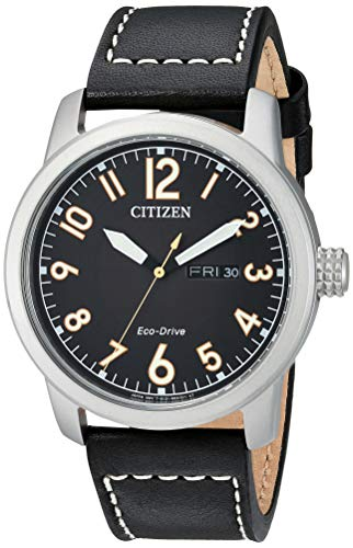 (Citizen Men's Eco-Drive Stainless Steel Quartz Leather Calfskin Strap, Black Casual Watch (Model:)