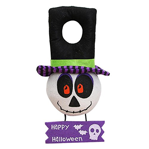 Pawaca Halloween Door Decor, Trick or Treat Party Decoration, Happy Halloween Sign, Doorknob Hanger for Home Party Bar Showcase 15 X 6.3inches - Skull -